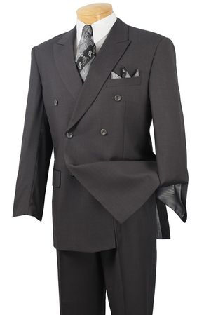 Men's Double Breasted Suit Pleated Pants Heather Charcoal Vinci DC900-1