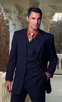 Men's Three Button All Wool Classy Navy 3 Piece Suits by Alberto 3BVP-1 Size 46 Long Final Sale