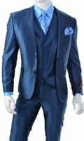 Young Mens 3 Piece Vest Slim Fitted Shiny Navy Blue Suit T62SK