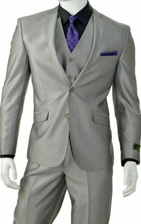 3 Piece Slim Fit Shiny Silver Sharkskin Suit T62SK - click to enlarge