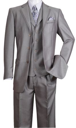 Milano Fortini Men's Silver Sharkskin 3 Pc. Fashion Suit 5909V