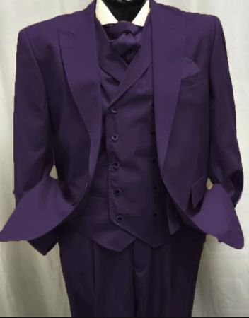 Mens Plum Wool Suit Double Breasted Vest Alberto Gadson54