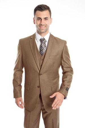 3 Piece Suit Mens Solid Dark Taupe Regular Fit Tazio M302-33
