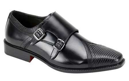 AC Mens Black Double Buckle Style Dress Shoes 6687