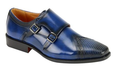 AC Mens Blue Double Buckle Style Dress Shoes 6687