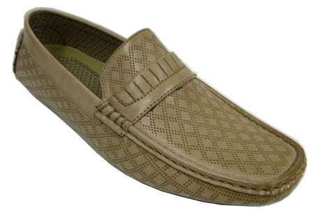 Mens Driving Mocassin Shoes Natural Tan Diamond Pattern AC 6650 - click to enlarge