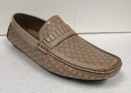 Mens Driving Mocassin Shoes Natural Tan Diamond Pattern AC 6650