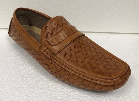 Mens Driving Moc Shoes Rust Tan Diamond Pattern AC 6650