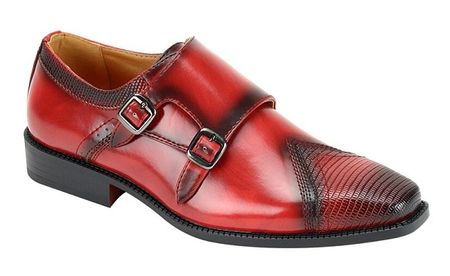 Mens Red Double Buckle Dress Shoes Antonio Cerrelli 6687