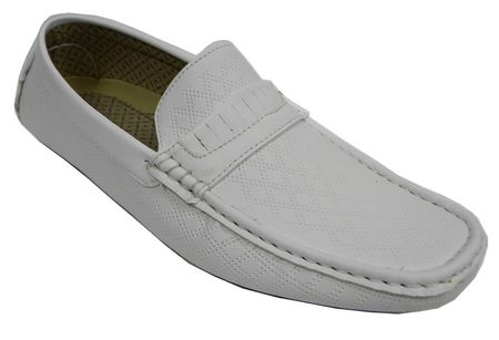 AC Mens White Casual Driving Moc Shoes 6650 - click to enlarge