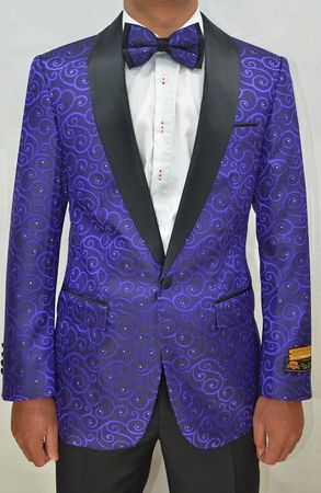 Mens Purple Swirl Pattern Tuxedo Jacket Alberto Paisley-300 Size 5XL Final Sale