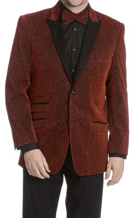 After Midnight Men's Red Glitter Stage Singer Blazer Temptations
