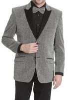 After Midnight Men's Silver Glitter Stage Singer Entertainer Jacket