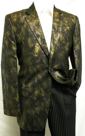 After Midnight Mens Black Gold Pattern Evening Blazer Jacket Size M, L, XL  Final Sale