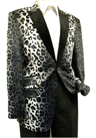 After Midnight Mens Fancy Black Cheetah Pattern Fashion Blazer 5716-021 Size L
