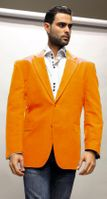 Alberto Nardoni Mens Bright Orange Velvet Blazer Jacket Velvet-2BV