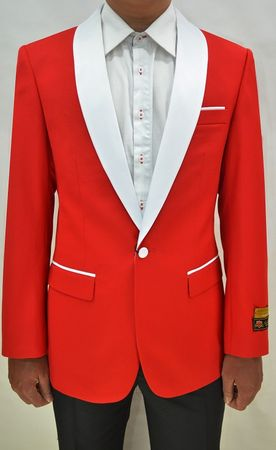 Mens Red/White Collar Tuxedo Jacket Alberto Dinner-Jacket