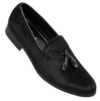 Amali Mens Black Velvet Tuxedo Smoking Loafer Shoes Abrams