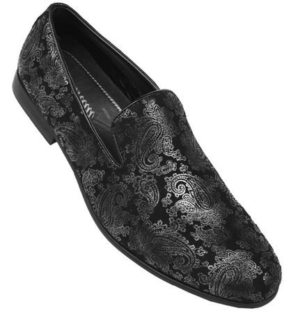 Amali Shoes Mens Designer Black Paisley Smoking Loafers VEGA