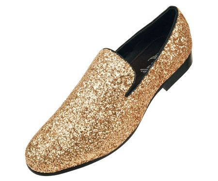 Amali Mens Gold Glitter Entertainer Slipper Shoes Barnes