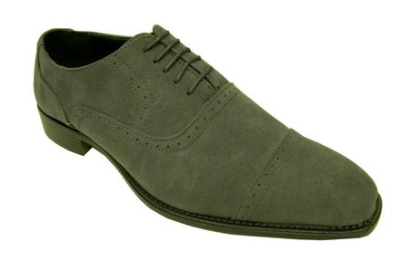 Amali Mens Grey Suede Cap Toe Dress Shoes 2321-011 IS Size 10,12