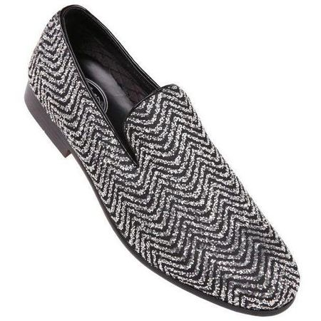 Amali Mens Prom Shoes Black Silver Fancy Tuxedo Slip On Vance