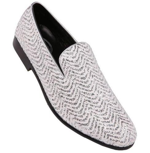 Amali Mens Prom Shoes White Silver