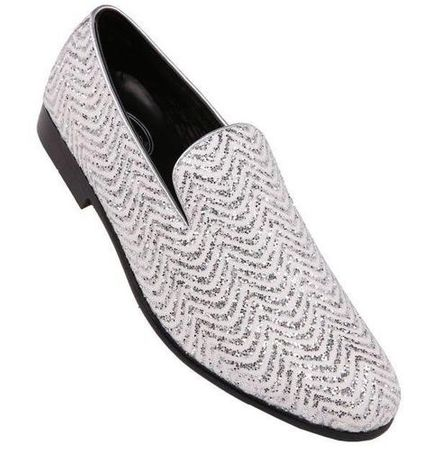 Amali Mens Prom Shoes White Silver Fancy Tuxedo Slip On Vance