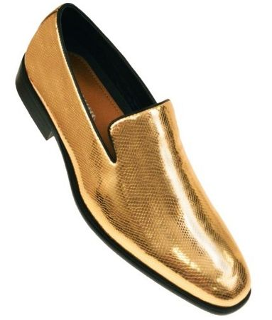 Amali Mens Shiny Gold Foil Slip On Dress Shoes Durant Size 10, 10.5