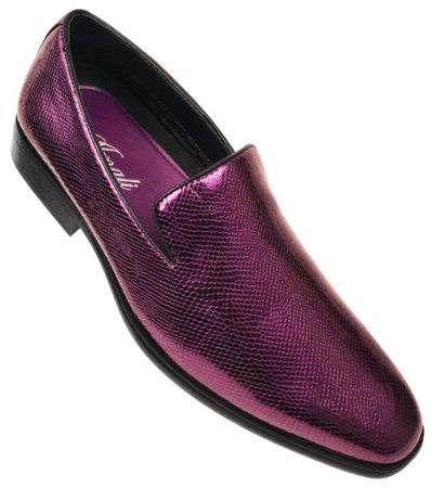 Amali Mens Shiny Purple Slip On Smoking Shoes Durant Size 10, 10.5