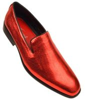 Amali Mens Shiny Red Slip On Smoking Loafers Durant