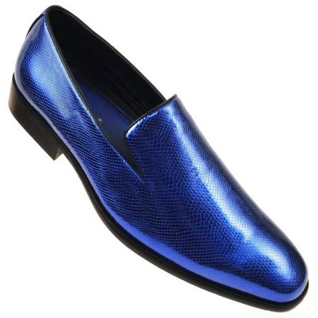 Amali Mens Smoking Loafers Shiny Royal Blue Durant Size 11