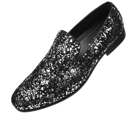 Amali Mens Black Silver Splash Slip On Entertainer Shoes Morris