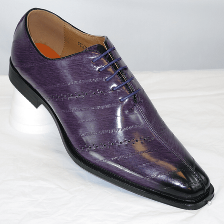 371794518197 Antonio Cerrelli Mens Purple Eel Print Dress Shoes 6611
