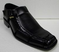 Antonio Cerrelli Mens Black Closed Toe Gator Print Sandals 6617