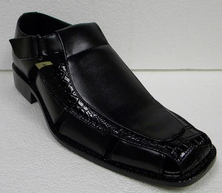 Antonio Cerrelli Mens Black Closed Toe Gator Print Sandals 6617 - click to enlarge