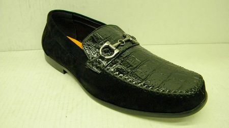 Antonio Cerrelli Mens Black Suede Croc Top Loafers 6330 IS