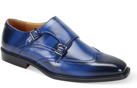 Antonio Cerrelli Mens Blue Double Monk Strap Shoes 6775