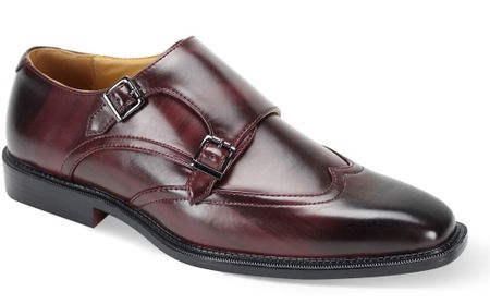 Antonio Cerrelli Mens Burgundy Double Monk Strap Shoes 6775