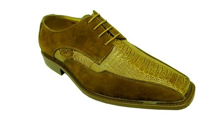 Antonio Cerrelli Mens Mustard Suede Ostrich Print Dress Shoes 6310 IS