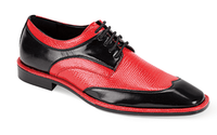 Expression Mens Black Red Lizard Print Dress Shoes 6704