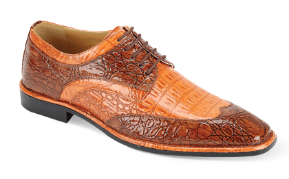 Expression Mens Cognac Rust Lizard Print Dress Shoes 6704