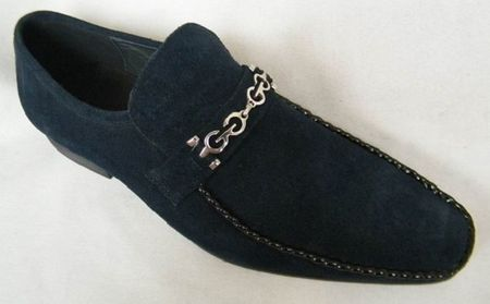 Zota Mens Suede Navy Chain Link Strap Shoes G6850-6