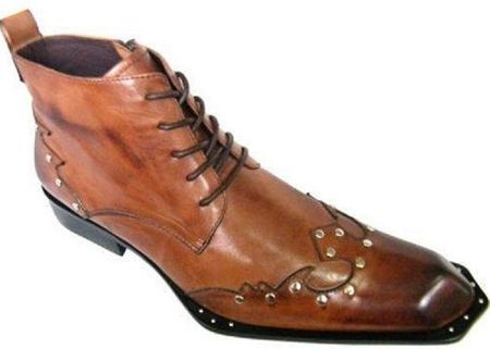 Zota Mens Brown Studded Unique Pointy Toe Leather Boots G4H939