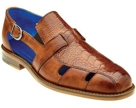 Belvedere Men's Sandals Honey Tan Ostrich Closed Toe Land Connors - click to enlarge