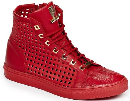 Mauri Italy Mens Red Baby Crocodile and Calfskin Perforated Hi Top Sneakers 8513 - click to enlarge