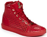 Mauri Italy Mens Red Baby Crocodile and Calfskin Perforated Hi Top Sneakers 8513