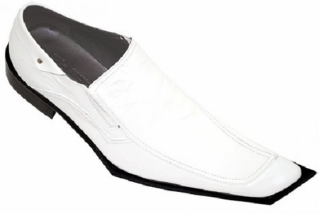 Zota Mens White High Fashion Leather Shoes G838-5 Size 9 Final Sale - click to enlarge