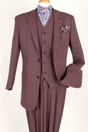 Apollo King 100% Wool Burg 2 Button 3 Piece Patch Pocket Suit ED-292 - click to enlarge