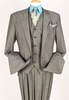 Apollo King 100% Wool Gray 1 Button 3 Piece Wide Leg Suit C-011